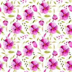 Watercolor spring pink flowers and green leaves seamless pattern, hand painted on a white background