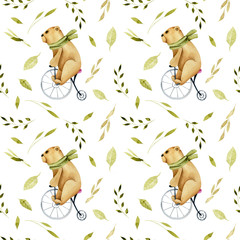 Seamless pattern of watercolor cute bears on a bicycle and green plant elements, hand drawn on a white background