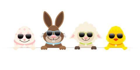 Osterei, Schaf, Osterhase & Küken Sonnenbrille Banner