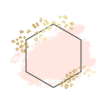 Abstract geometric vector background, brush illustration. Pink ink brush stroke with rich golden exotic leopard animal skin texture