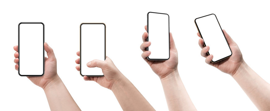 Set of four smartphones, blank screen and isolated on white background. Template, mockup.