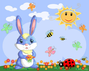 Bunny with a bouquet in a meadow near the rainbow. Spring, love