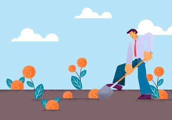 Vector Flat Young Man Digging in Vegetable Garden.