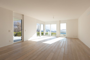 Empty white living room interior with parquet