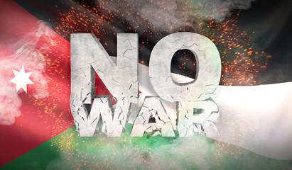 No war concept. Flag of Jordan. Waved highly detailed fabric texture. 3D illustration.