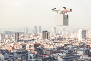drone delivery with white box