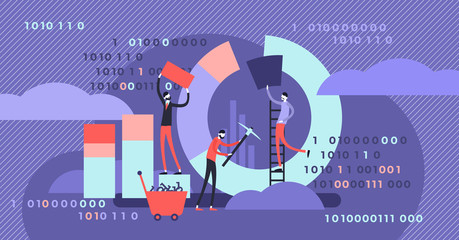 Data mining vector illustration. Tiny chart graph creation persons concept.