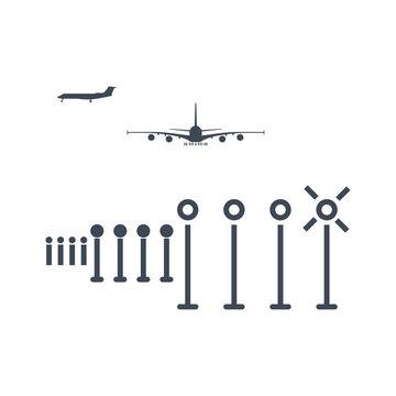 thin line icon airport, runway lighting