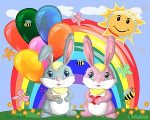 Cute cartoon bunny with an armful of balls and a bunny girlfriend in a meadow near the rainbow. Spring, postcard
