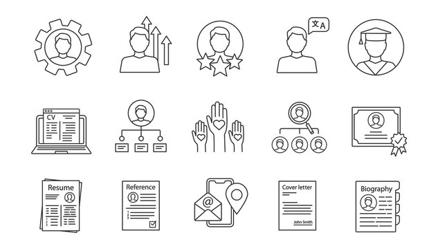Resume linear icons set