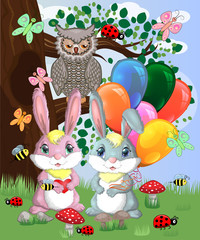 Two cute bunny with balls in a forest glade. Boy and girl, concept spring, love