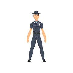 Police Officer in Uniform, Sheriff Policeman Character Vector Illustration