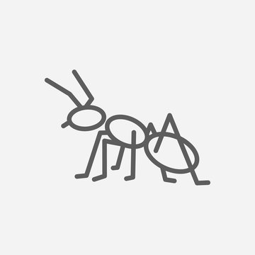 Ant icon line symbol. Isolated vector illustration of  icon sign concept for your web site mobile app logo UI design.