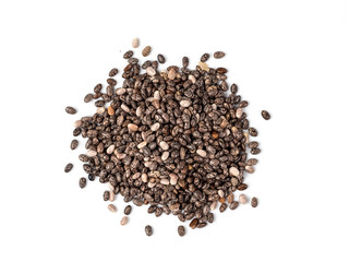 chia seeds on white background top view. Pile of healthy chia seeds Isolated on white with clipping path. Top view or flat lay.