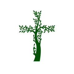 Concept of green christian cross in the form of tree on transparent background. Vector illustration.