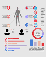 Medical infographic containing diagrams for multiple organs