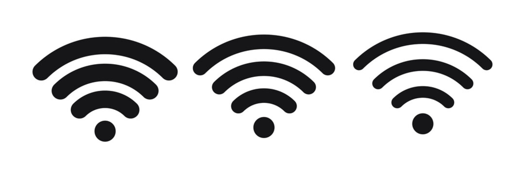 Wireless and wifi icon or wi-fi icon sign for remote internet access, Podcast vector symbol, vector illustration