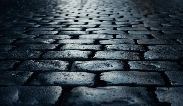 road paved with cobblestone
