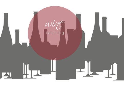 Wine bottles and wineglasses. Design element in modern style for tasting, menu, wine list, restaurant, winery, shop.