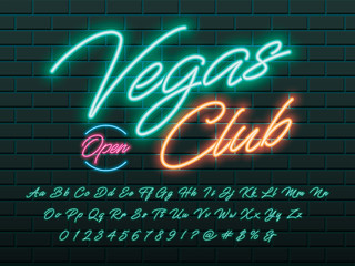 Glowing neon light alphabet design