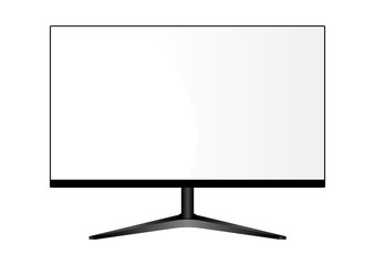Wide Monitor on Stand. Lcd Television Display Mockup. Realistic Flat Multimedia Screen Illustration. High Definition Pc Desktop For Web Presentation Show. Modern Digital Video Panel.