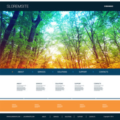 Website Design Template for Your Business with Natural Image Background - Woodland, Trees, Shunshine