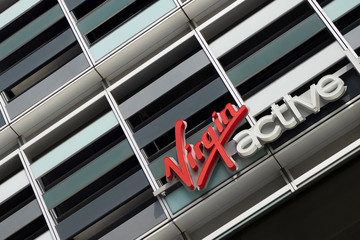 The Virgin Active logo is seen at their fitness centre in central Singapore