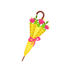 Pink flowers and green leaves inside yellow umbrella. Cute spring bouquet. Natural composition. Flat vector design