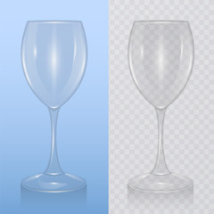 The wine glass, template of glassware for alcoholic drinks. Realistic vector illustration