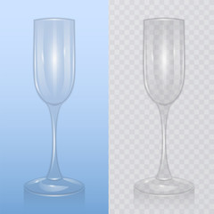Empty champagne glass, on transparent background. Mock up, template of glassware for alcoholic drinks champagne flute, Realistic vector illustration