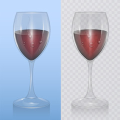 Transparent vector wine glass with red wine, template of glassware for alcoholic drinks. Realistic vector illustration
