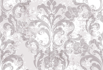 Floral texture pattern Vector. Floral ornament decoration. Victorian engraved retro design. Vintage fabric decors. Luxury fabrics