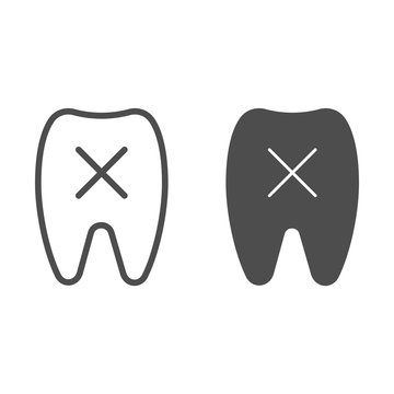 Loose tooth line and glyph icon. Missing tooth vector illustration isolated on white. Dentistry outline style design, designed for web and app. Eps 10.