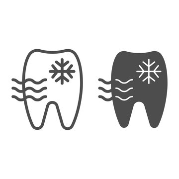 Sensitive tooth line and glyph icon. Tooth and snowflake vector illustration isolated on white. Dentist outline style design, designed for web and app. Eps 10.
