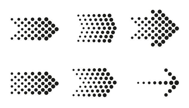 Dots arrow icon set. Vector halftone arrows..