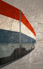 Train Freight transportation. Cargo transit. Container textured by flag of the Netherlands. Grunge texture