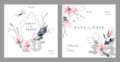Watercolor invitation wedding template. White, black and pink colors.