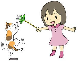 猫 遊ぶ 女の子