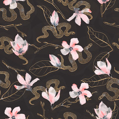 Seamless pattern with golden flowers and snakes on the black background.