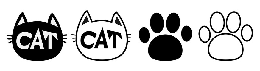 Black cat head face contour silhouette icon set line. Pictogram. Empty template Paw print track. Cute funny cartoon character. Kitty kitten whisker Baby pet. White background. Isolated. Flat