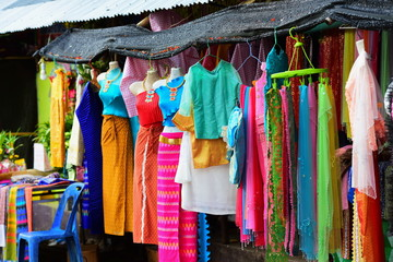 Native clothing in the border market of Thailand Available for tourists