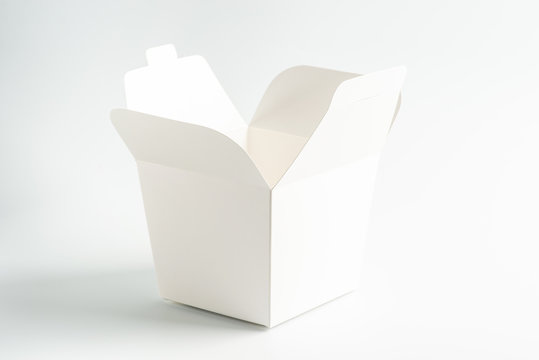 white cardboard packaging for noodles on a white background, moke up