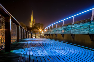 Norwich Cathedral, Shot At Night with a Long Exposure from the Jarrold Foot Bridge, Norfolk, England