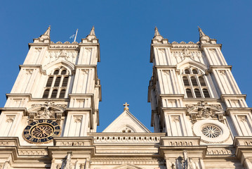 London, United Kingdom - Februari 21, 2019: Towers of Westminster Abbey founded by Benedictine monks in 960AD, Westminster, London, United Kingdom, Februari 21, 2019.