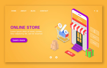 Concept of mobile online store.
