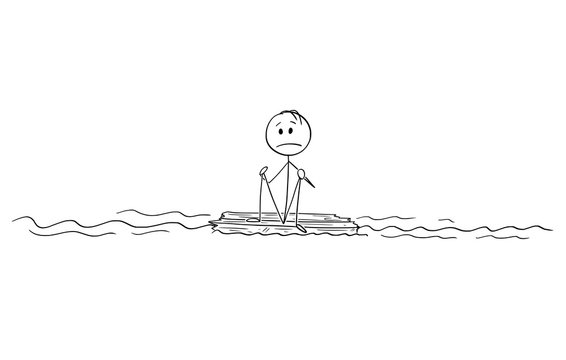 Cartoon stick figure drawing conceptual illustration of lonely man or castaway sitting lost and alone in the middle of ocean on piece of wood.