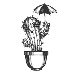 Cartoon cactus character in sunglasses with umbrella engraving sketch vector illustration. Scratch board style imitation. Black and white hand drawn image.
