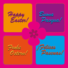 colorful happy easter greetings in four languages