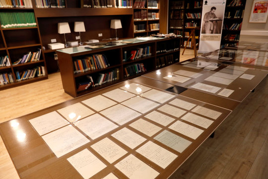 Part of a collection of 110 manuscript pages written by Albert Einstein that were unveiled by Israel's Hebrew University are seen on display at the university in Jerusalem