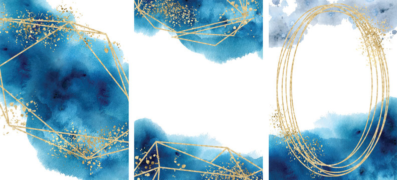 Watercolor abstract aquamarine, background, watercolour blue and gold texture Vector illustration